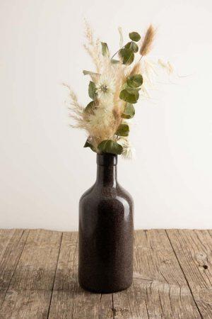 Keramikflasche-weiss Blumig